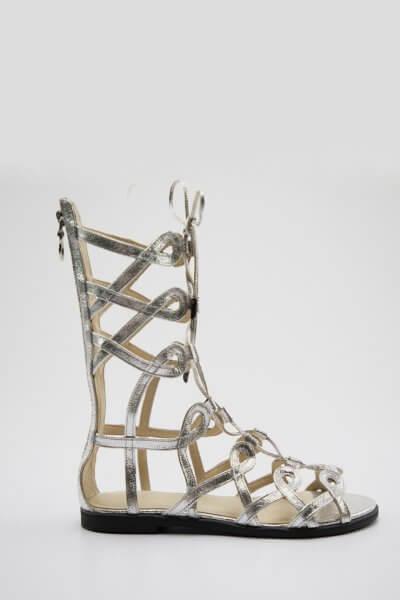 Кожаные высокие сандалии Greta NZR_Greta-silver, фото 1 - в интеренет магазине KAPSULA