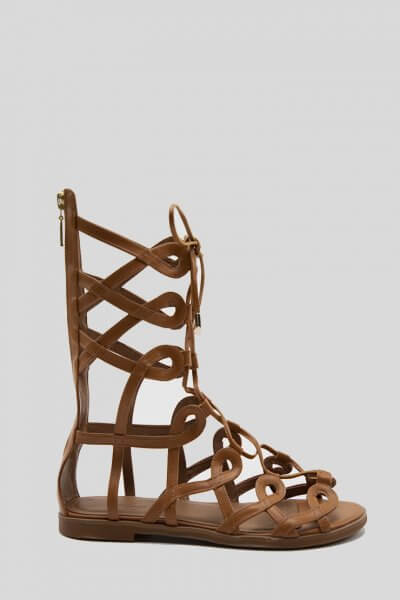 Кожаные высокие сандалии Greta NZR_Greta-ginger, фото 1 - в интеренет магазине KAPSULA