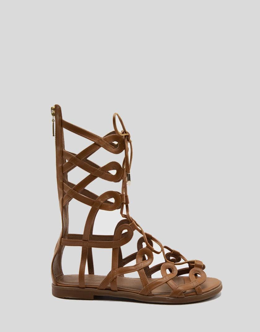 Кожаные высокие сандалии Greta NZR_Greta-ginger, фото 1 - в интернет магазине KAPSULA