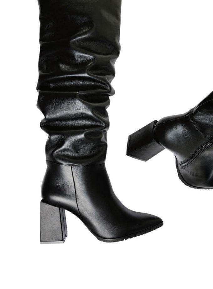 Кожаные ботфорты на среднем каблуке MDVV_727406, фото 1 - в интеренет магазине KAPSULA