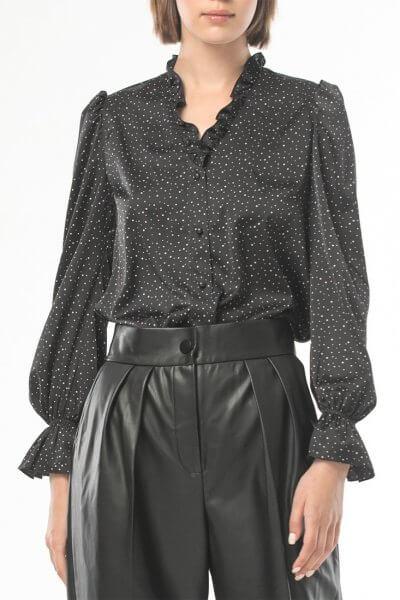 Блуза с рюшами в мелкий горох ALOT_020210, фото 5 - в интеренет магазине KAPSULA