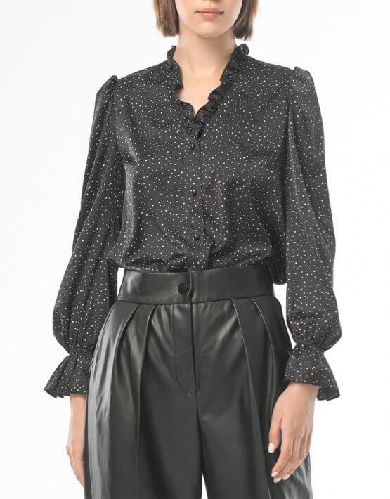Блуза с рюшами в мелкий горох ALOT_020210, фото 4 - в интеренет магазине KAPSULA