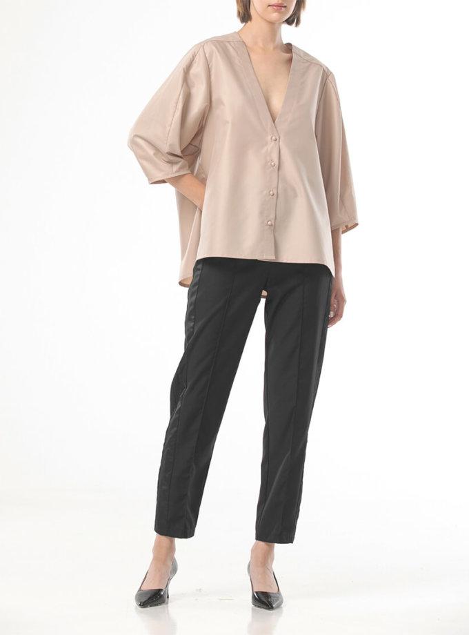 Рубашка с вырезом и объемными рукавами ALOT_020222, фото 1 - в интернет магазине KAPSULA
