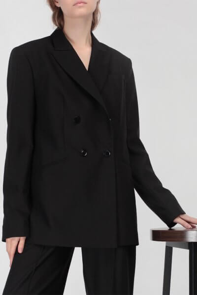 Жакет с удлиненным плечом из тонкой шерсти MISS_JA-010-black, фото 2 - в интеренет магазине KAPSULA