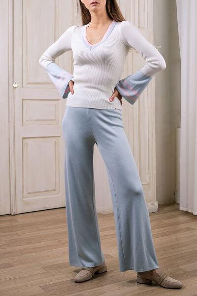 Широкие вязаные брюки NBL_2008-TJWIDEVBLU, фото 1 - в интеренет магазине KAPSULA