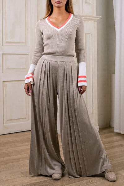 Широкие брюки плиссе NBL_2008-TRPLBEG, фото 3 - в интеренет магазине KAPSULA