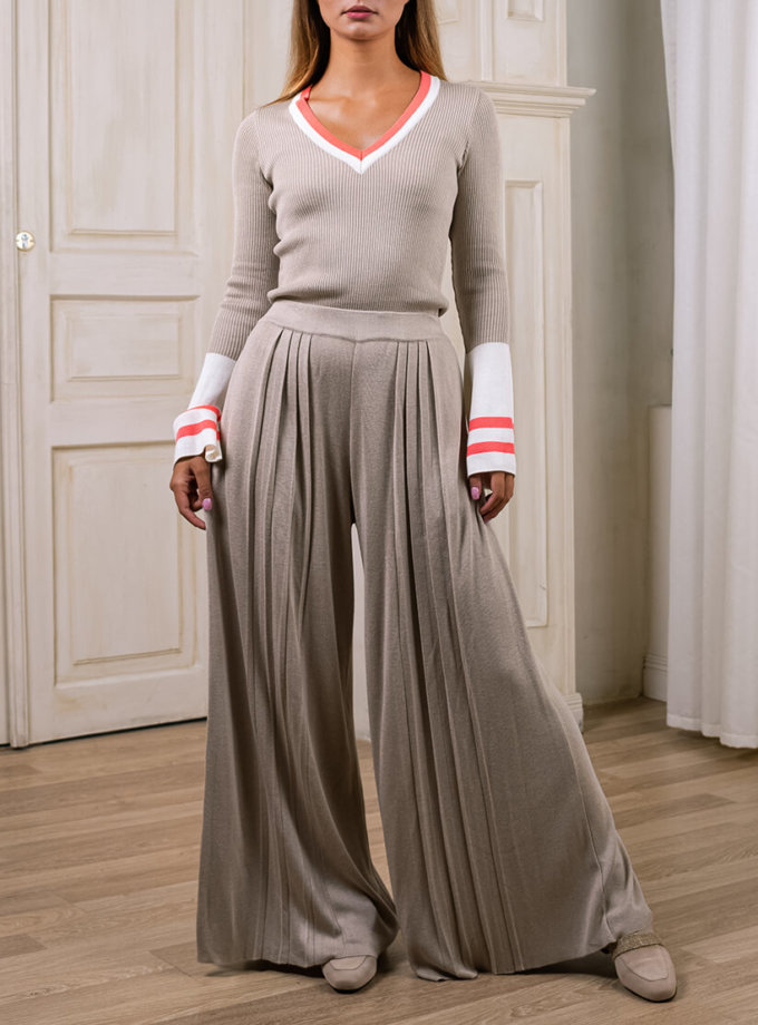 Широкие брюки плиссе NBL_2008-TRPLBEG, фото 1 - в интеренет магазине KAPSULA