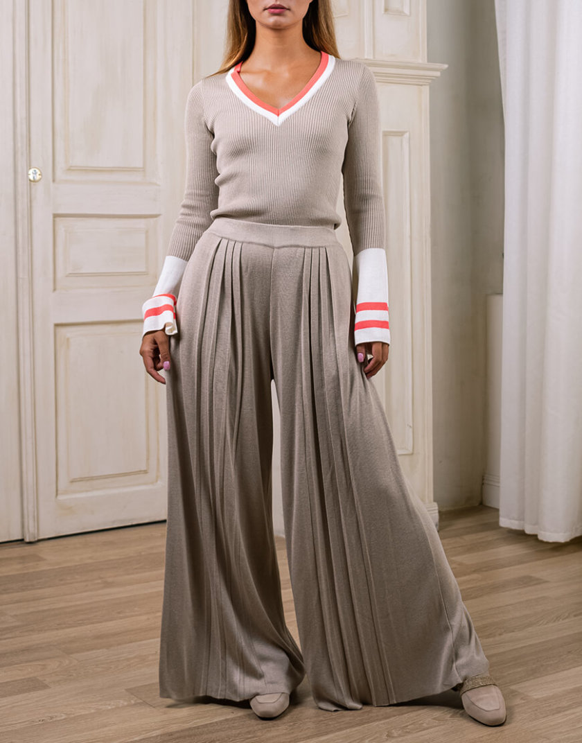 Широкие брюки плиссе NBL_2008-TRPLBEG, фото 1 - в интернет магазине KAPSULA