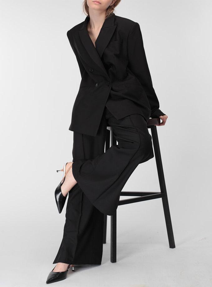 Жакет с удлиненным плечом из тонкой шерсти MISS_JA-010-black, фото 1 - в интеренет магазине KAPSULA