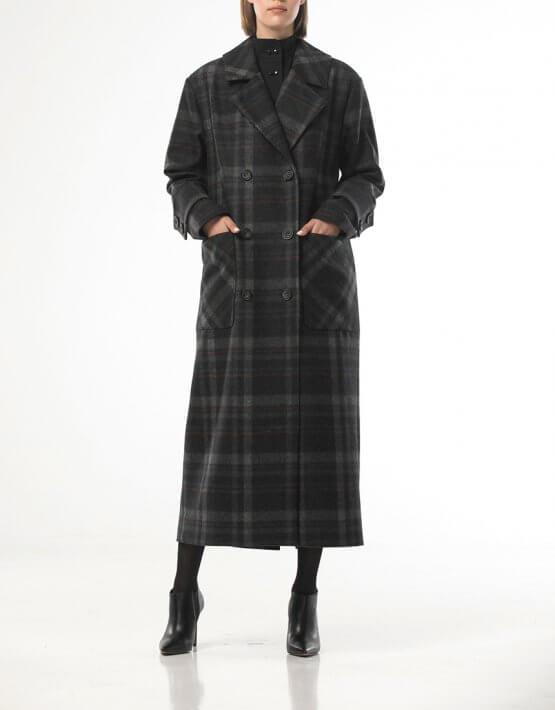Двубортное пальто из шерсти в крупную  клетку ALOT_500205, фото 6 - в интеренет магазине KAPSULA