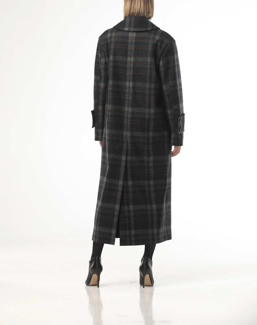 Двубортное пальто из шерсти в крупную  клетку ALOT_500205, фото 1 - в интернет магазине KAPSULA