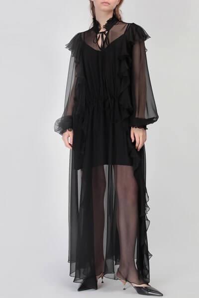 Шелковое платье Camelia с воланами MISS_DR-023-black-maxi, фото 1 - в интеренет магазине KAPSULA