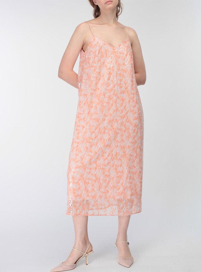Платье с пайетками и V-вырезом сзади MISS_DR-031-pink, фото 1 - в интернет магазине KAPSULA