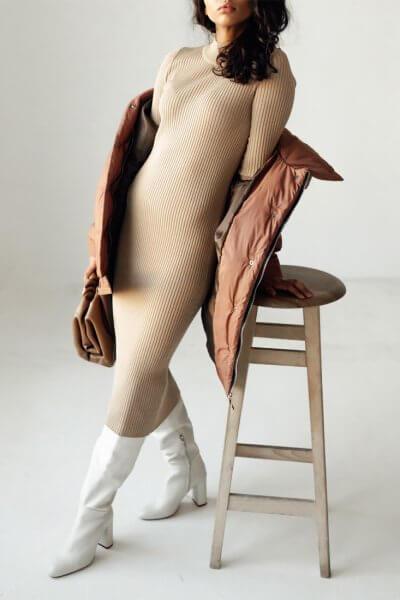 Платье в рубчик из шерсти JDW_JD1109, фото 5 - в интеренет магазине KAPSULA