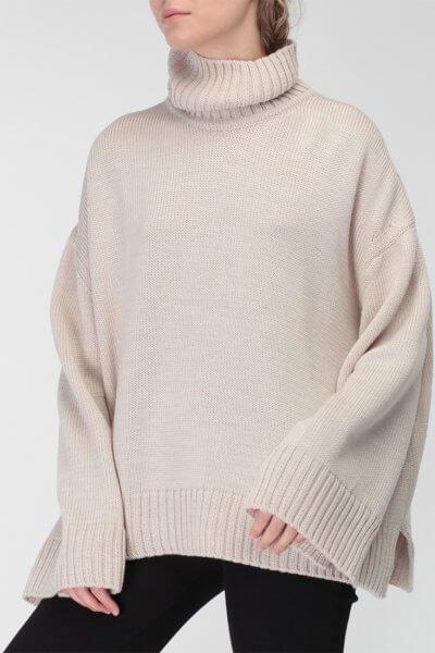 Объемный свитер под горло из шерсти MISS_PU-015-beige, фото 4 - в интеренет магазине KAPSULA