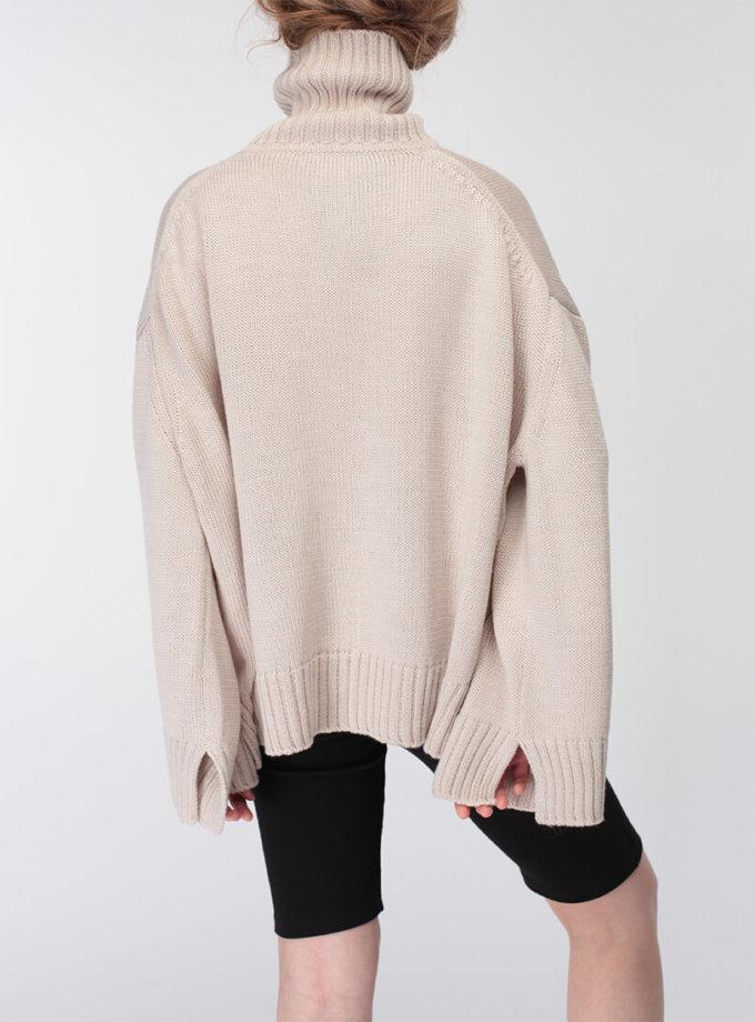 Объемный свитер под горло из шерсти MISS_PU-015-beige, фото 1 - в интернет магазине KAPSULA