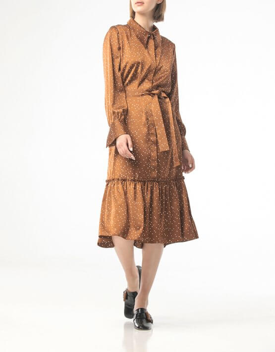 Платье в горох с поясом ALOT_100421, фото 4 - в интеренет магазине KAPSULA
