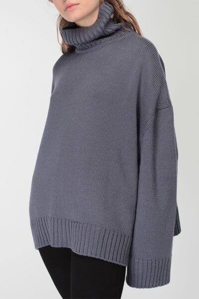 Объемный свитер под горло из шерсти MISS_PU-015-blue, фото 4 - в интеренет магазине KAPSULA