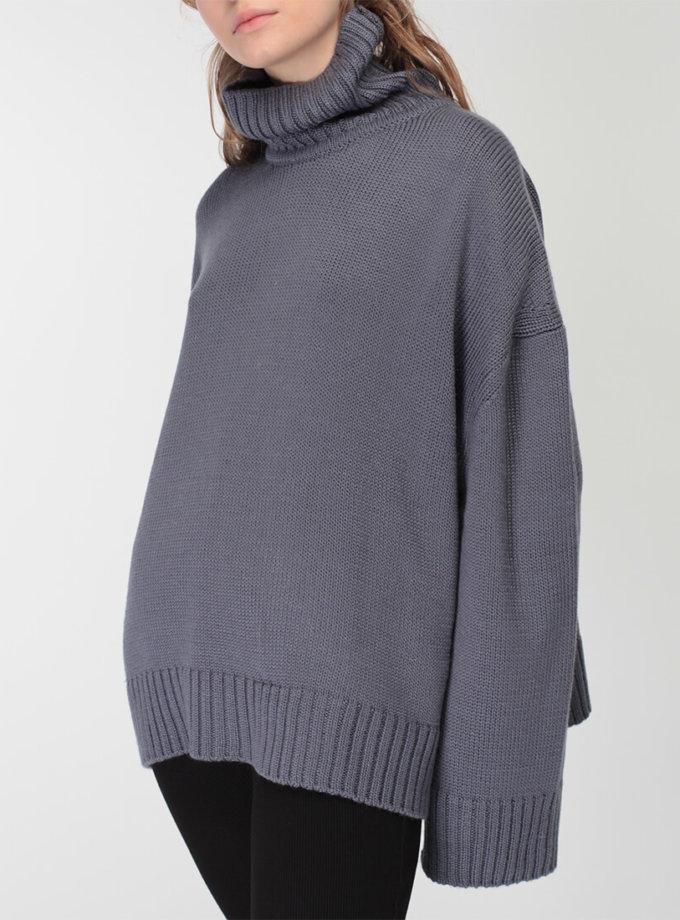 Объемный свитер под горло из шерсти MISS_PU-015-blue, фото 1 - в интеренет магазине KAPSULA