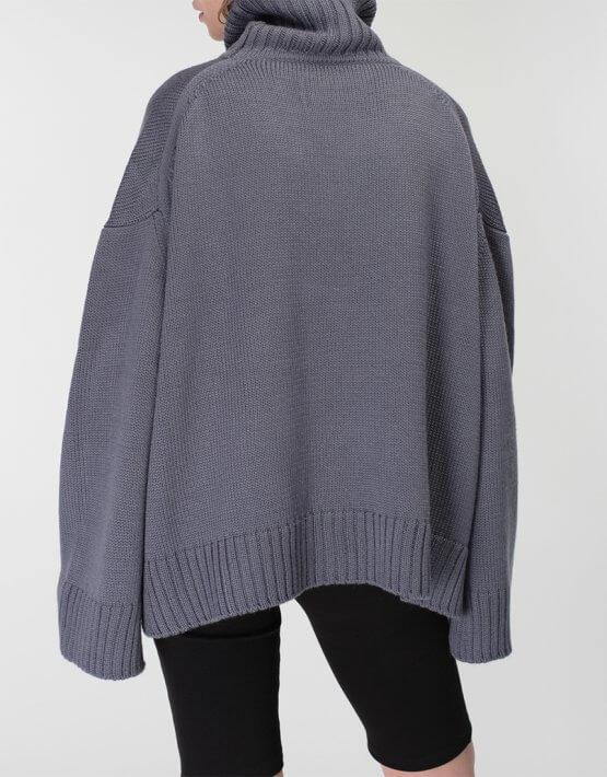 Объемный свитер под горло из шерсти MISS_PU-015-blue, фото 5 - в интеренет магазине KAPSULA