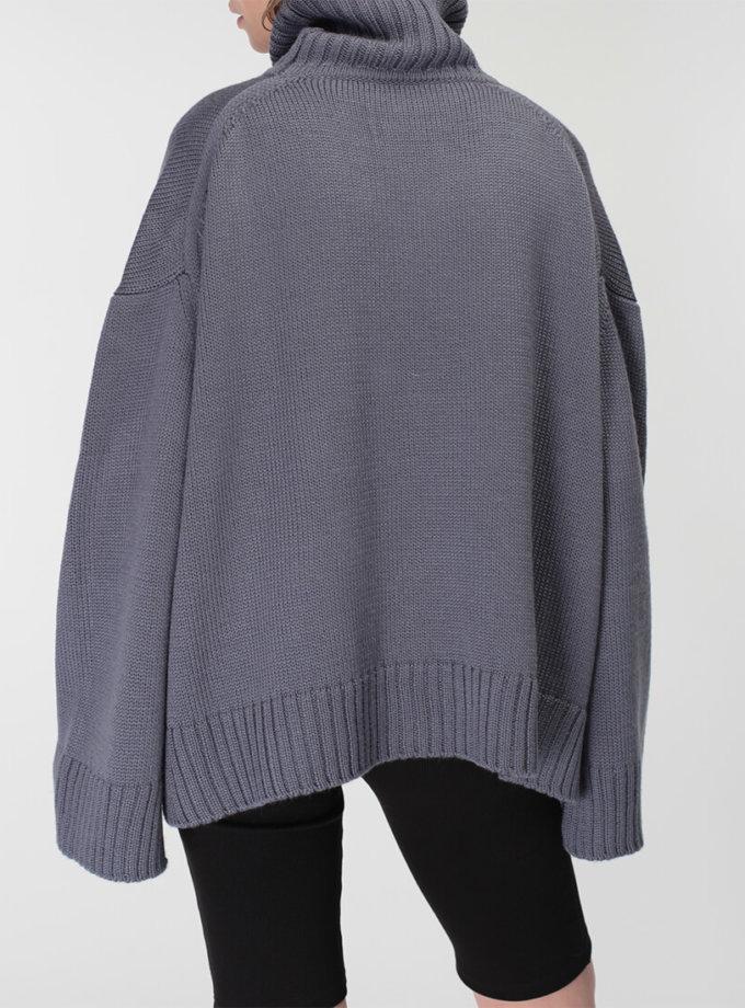 Объемный свитер под горло из шерсти MISS_PU-015-blue, фото 1 - в интернет магазине KAPSULA