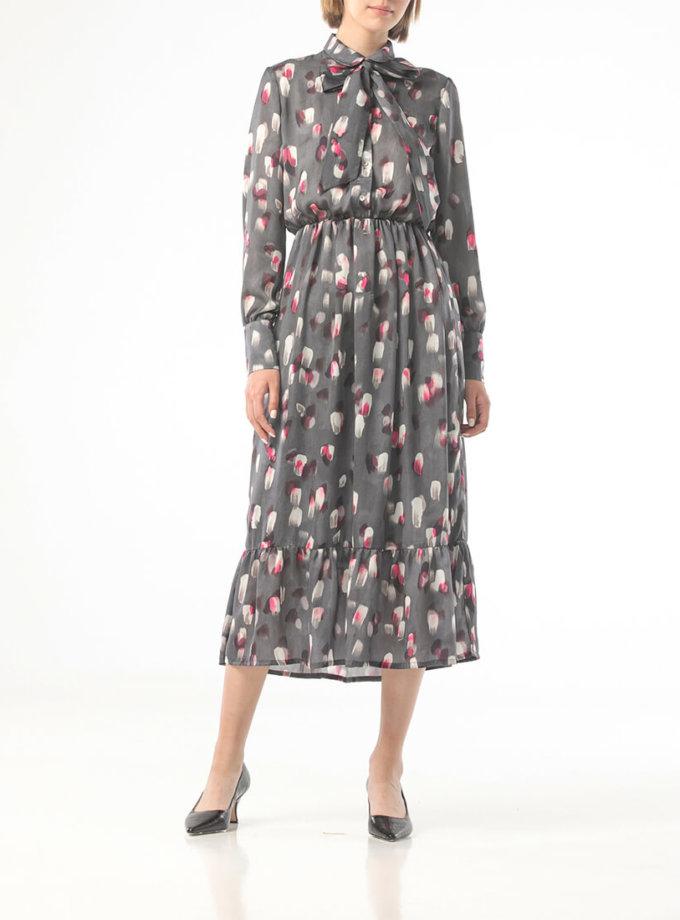 Серое платье в принт с мазками ALOT_100418, фото 1 - в интеренет магазине KAPSULA