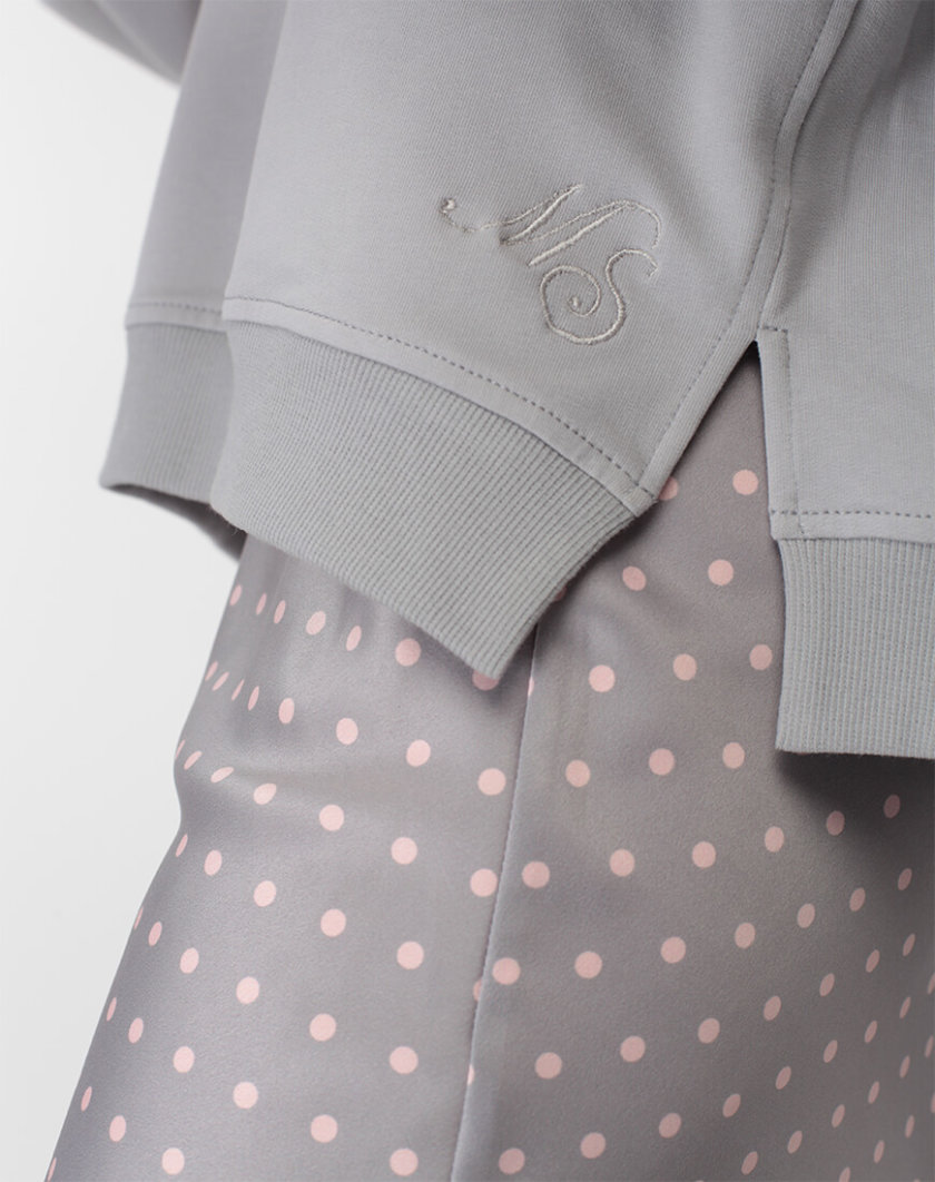 Юбка миди в горох MISS_SK-007-grey, фото 1 - в интернет магазине KAPSULA