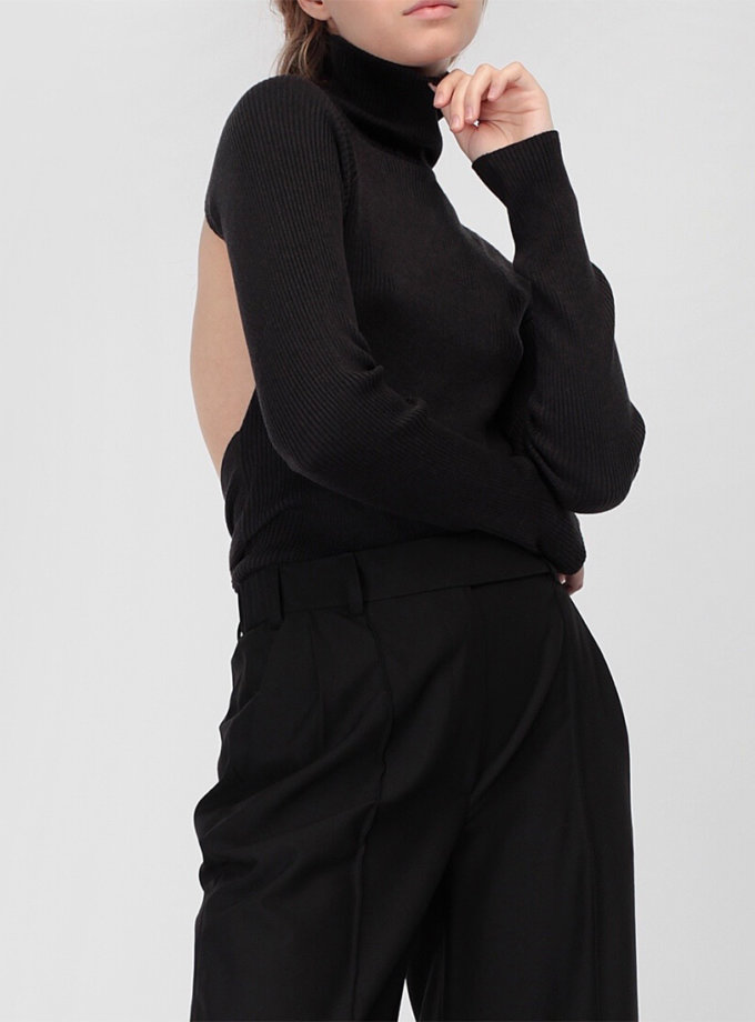 Тонкий джемпер с открытой спиной MISS_PU-016-black, фото 1 - в интернет магазине KAPSULA