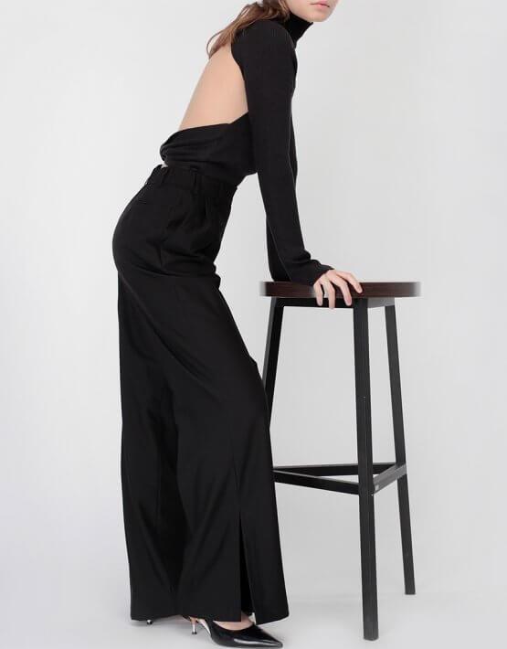 Тонкий джемпер с открытой спиной MISS_PU-016-black, фото 7 - в интеренет магазине KAPSULA