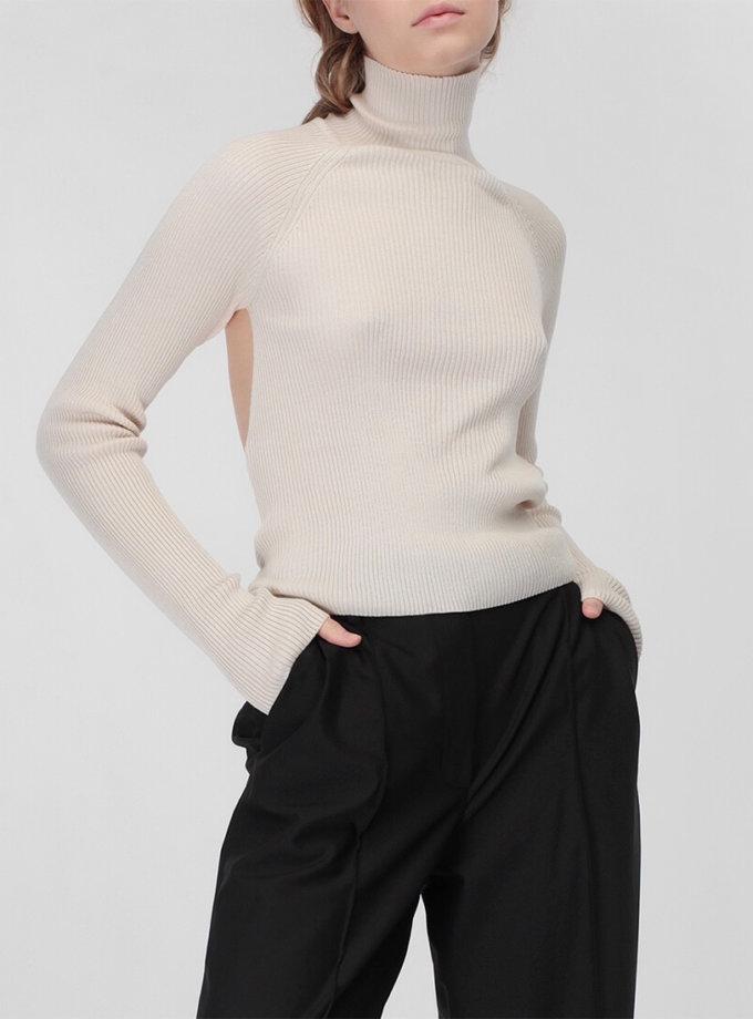 Тонкий джемпер с открытой спиной MISS_PU-016-beige, фото 1 - в интеренет магазине KAPSULA
