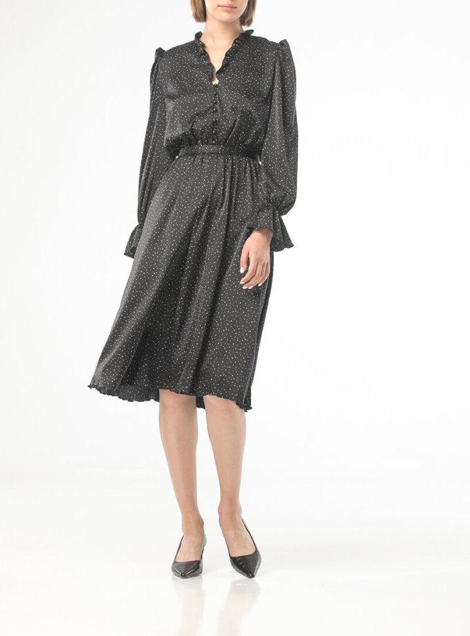 Платье миди в горох с рюшами ALOT_100419, фото 1 - в интеренет магазине KAPSULA