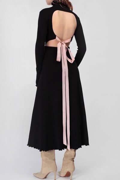 Хлопковое платье с открытой спиной MISS_DR-033-black, фото 1 - в интеренет магазине KAPSULA