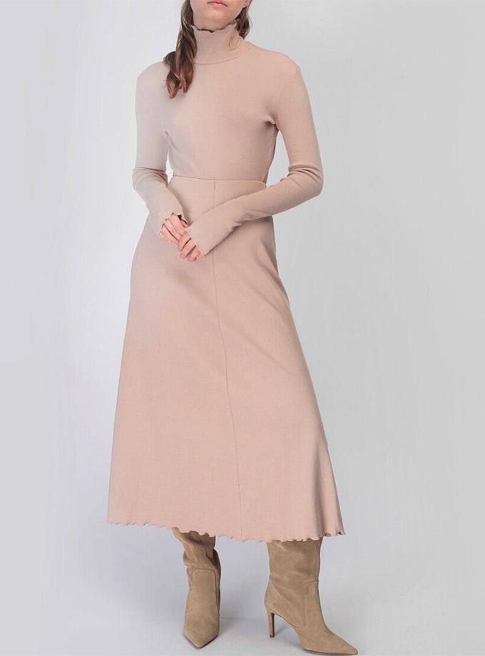 Хлопковое платье с открытой спиной MISS_DR-033-beige, фото 1 - в интернет магазине KAPSULA