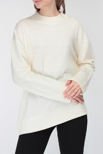 Ассиметричный джемпер из мериносовой шерсти MISS_PU-017-white, фото 1 - в интеренет магазине KAPSULA