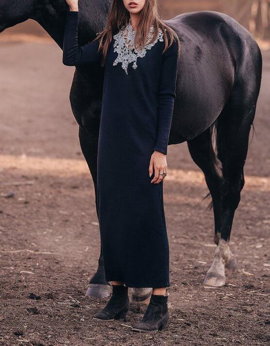 Прямое платье миди из шерсти KNIT_20015, фото 4 - в интеренет магазине KAPSULA