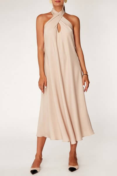 Платье с открытой спиной из тенсела CVR_OPENBEJ2020, фото 1 - в интеренет магазине KAPSULA