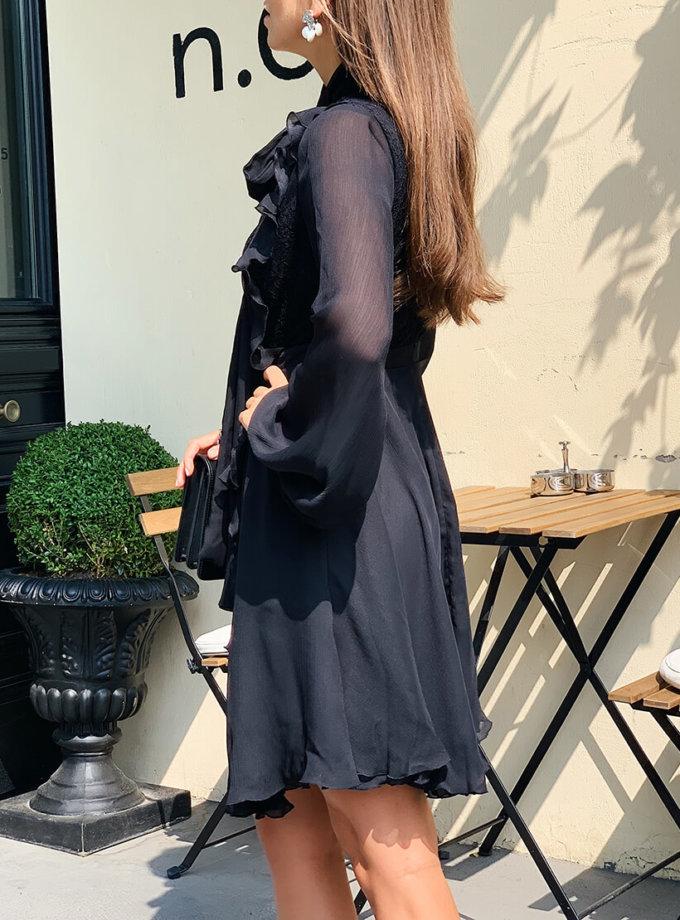 Шифоновое платье с бантом и гипюром MC_s_MY25518, фото 1 - в интеренет магазине KAPSULA