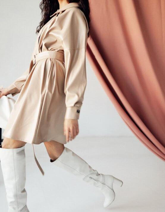 Платье-рубашка из эко кожи Kaya MC_s_MY3130-1, фото 5 - в интеренет магазине KAPSULA
