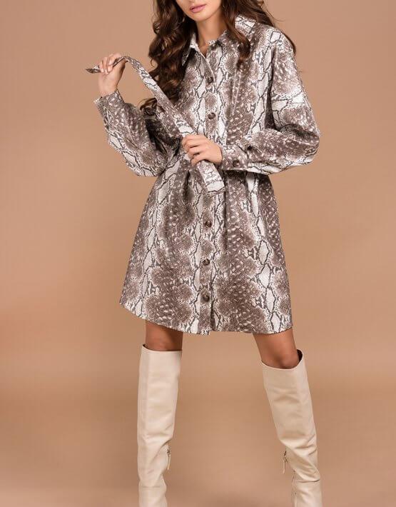 Платье-рубашка из эко кожи Kaya MC_s_MY3130, фото 2 - в интеренет магазине KAPSULA