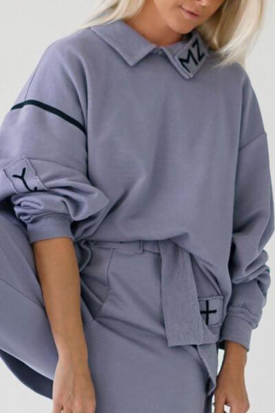 Хлопковый свитшот с воротником MZRB_MZ_SS20_1_lavanda, фото 2 - в интеренет магазине KAPSULA