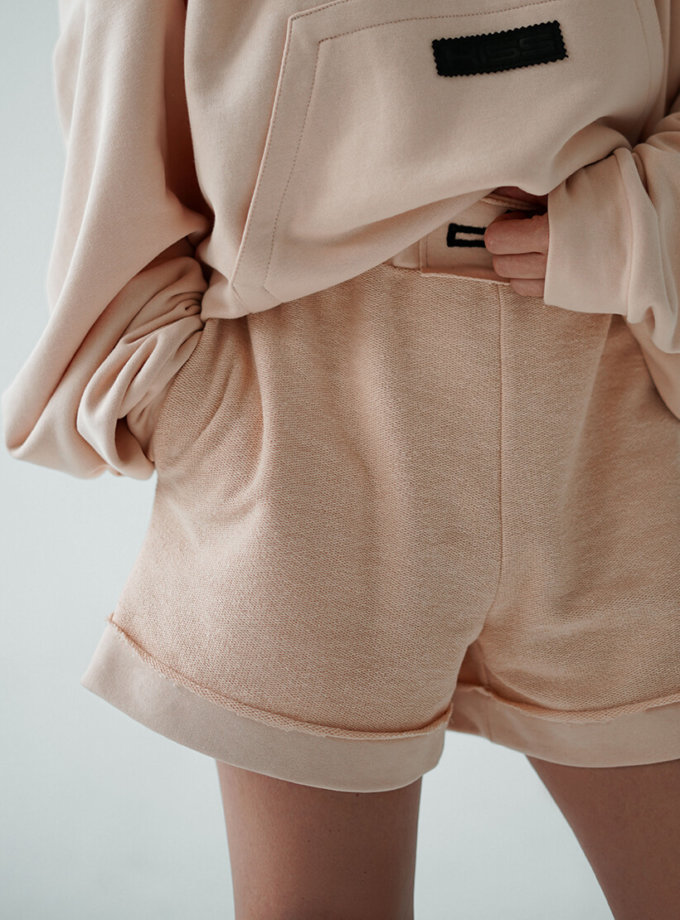Короткие шорты из хлопка MZRB_MZ_SS20_2_beige, фото 1 - в интернет магазине KAPSULA