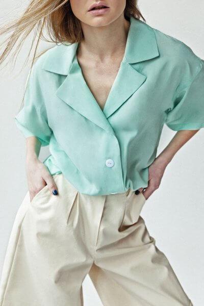 Легкая блуза You с коротким рукавом SNDR_SSY7, фото 4 - в интеренет магазине KAPSULA