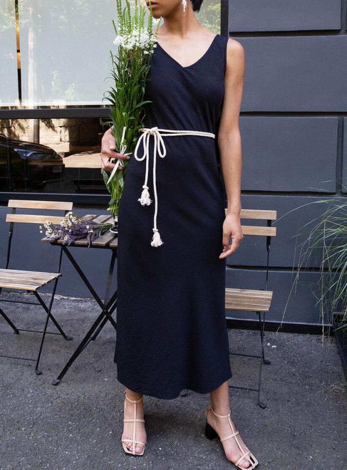 Хлопковое платье с поясом VONA_SS-20-55, фото 1 - в интеренет магазине KAPSULA
