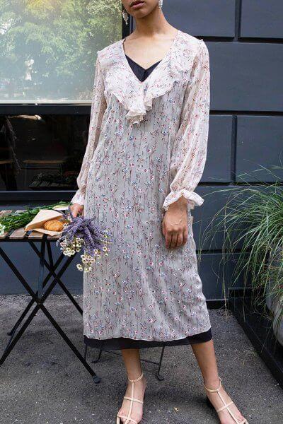 Двуслойное шифоновое платье VONA_SS-20-62, фото 1 - в интеренет магазине KAPSULA