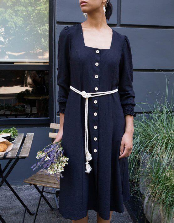 Хлопковое платье миди VONA_SS-20-64, фото 4 - в интеренет магазине KAPSULA