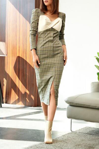 Платье-футляр с контрастным лифом KS_FW-23-01, фото 1 - в интеренет магазине KAPSULA
