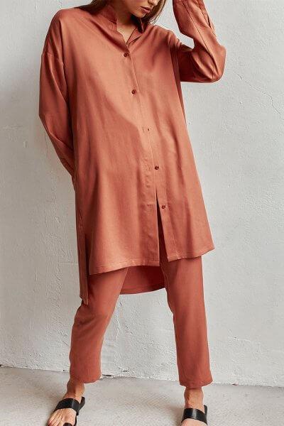 Удлиненная рубашка из тенсела AD_210720, фото 4 - в интеренет магазине KAPSULA