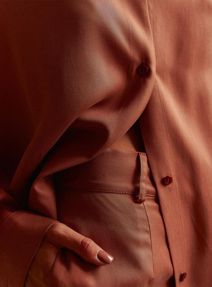 Удлиненная рубашка из тенсела AD_210720, фото 1 - в интернет магазине KAPSULA