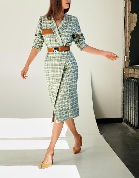 Платье-жакет из хлопка KS_FW-23-03, фото 3 - в интеренет магазине KAPSULA