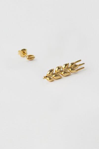 Асимметричные серьги в позолоте Колосок короткий KVL_КРР03_A, фото 6 - в интеренет магазине KAPSULA